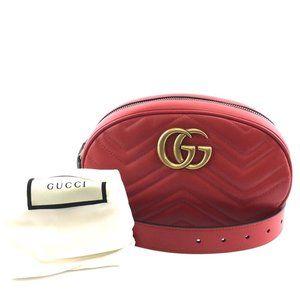 Gucci Red Marmont Gg Logo Waist Fanny Belt Bum Bag